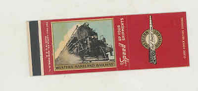 1940's Western Maryland Railway Railroad Train Matchbook Cover mb2559