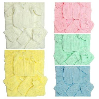 Crochet Newborn Girls Boys Five Piece Blanket Hat Booties Pants Sweater Unisex