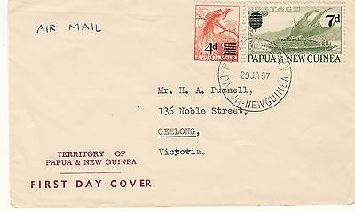 Stamps Papua New Guinea 1957 surcharges on PURNELL cachet first day cover, rare