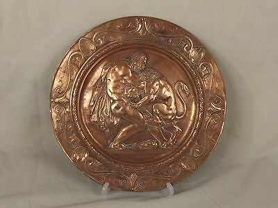 Georgian Hercules & Lion Gilded Pewter Plaque