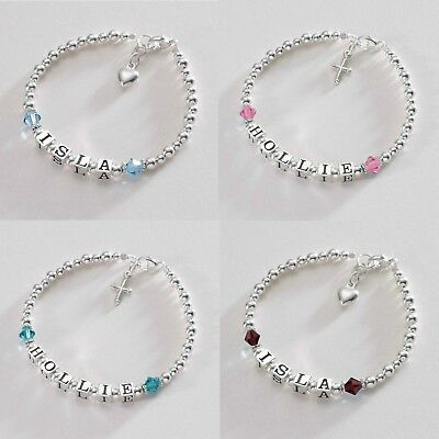 Girls Personalised Bracelet with Birthstones, Sterling Silver. Adult or Child.
