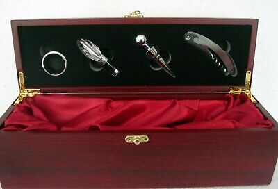 Wine Box 30th BirthdayShield - Satin Lined Dark ROSEWOOD Finish With 4 Bar Tools