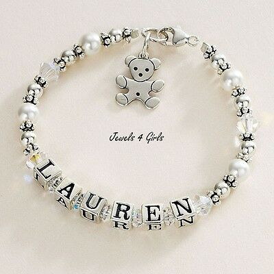 Sterling Silver Personalised Bracelet with Any Name for Girls. High Quality!