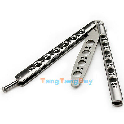 Silver Metal Practice Butterfly Balisong Trainer Training Knife Tool with Sheath