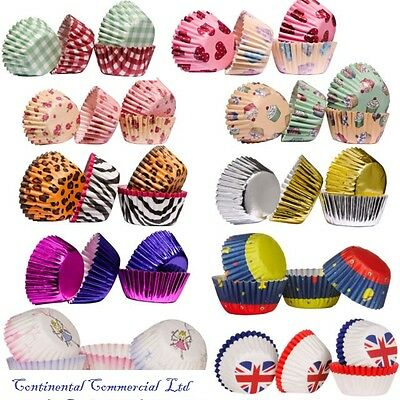 100 Cupcake Cases, Great Quality Paper Baking Cases, Various Designs Available