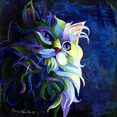 SHADOW PUSS 8X10 CAT Print from Artist Sherry Shipley
