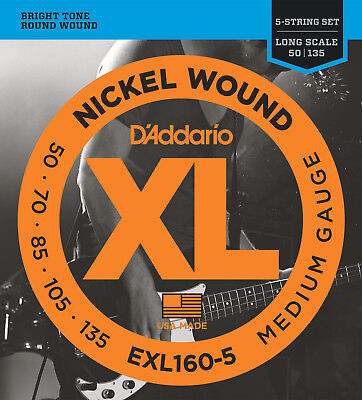 D'Addario EXL160-5 Electric Bass 5 String set Medium Wound  50-135  - New