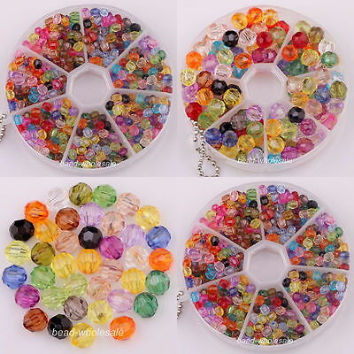 Wholesale 200Pcs Fashion Mixed Acrylic Faceted Crystal Spacer Beads For DIY
