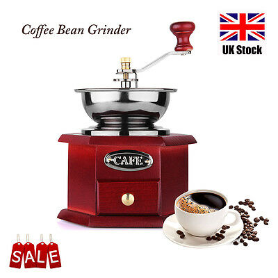 Manual Coffee Bean Grinder Wooden Vintage