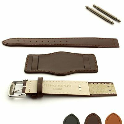 Two-Piece Open Ended Military Men's Genuine Leather Watch Strap Band Bund Pad