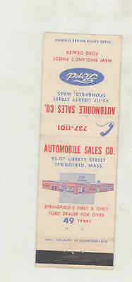 1957 ? Automobile Sales Ford Automobile Matchbook Cover Springfield MA mb1794