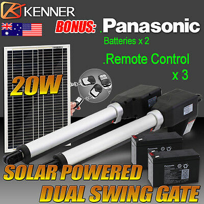 Dual Solar Power Automatic Remote Control Swing Gate Opener - Heavy Duty 1000KG