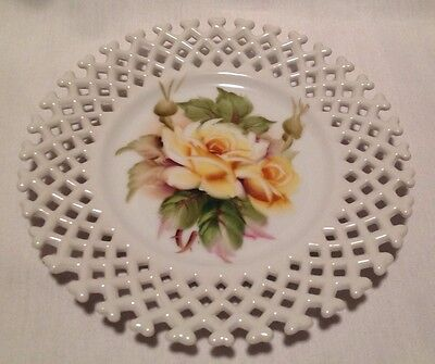 "Beautiful Vintage Lefton Lattice 8"" Plate Yellow Rose Hand Painted Signed"