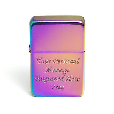 Engraved Personalised Colour Spectrum Rainbow Petrol Lighter Smokers Gifts