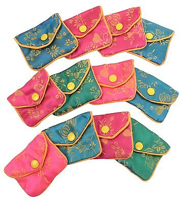 "Silk Jewelry Chinese Pouch Bag Roll Assorted FOUR DOZEN - 2 1/2"" x 2"""