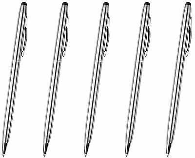 5x Silver Stylus with Ball Point Pen ULTRA SMOOTH Rubber Tip Tablets iPad