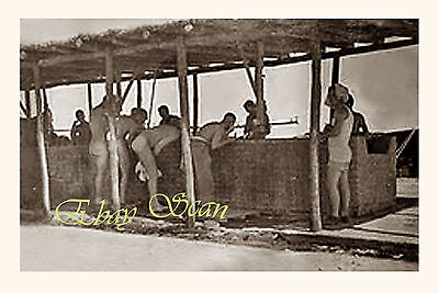 VINTAGE 1940's PHOTO NUDE WWII SOLDIERS SHAVE IN DESERT CAMP GAY INTEREST 38