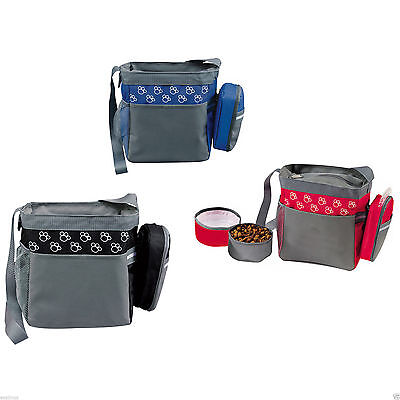 Dog Accessories Bag  Food & Water Bowls included  - Zip Closing -Pet Camping Kit
