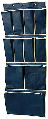 11 Pocket Over Door Shoe Organizer Storage Unit Tidy Rack Hanging wardrobe Blue