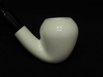 Smooth Bent Pear Meerschaum Pipe 海泡石斗 RARE Flat Eclipse acrylic stem. Good size