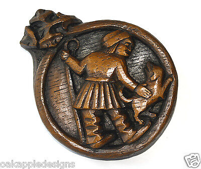 Shepherd Medieval Oak Cathedral Carving English Heritage Unique sheep Dog Plaque