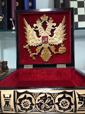 """Wooden Chess Men Pieces Set Imported from Russia Handcarved Eagle 4"""" King"""