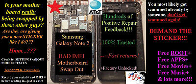 BAD IMEI REPAIR Note 2 i317 AT&T Samsung Galaxy MOTHERBOARD SWAP OUT –MAIL IN