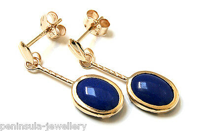 9ct Gold Lapis Lazuli short Drop earrings Gift Boxed Made in UK