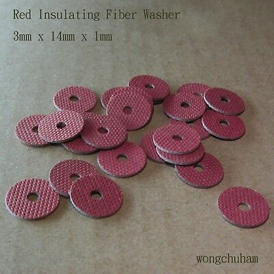 25pcs Red Insulating Fiber Washer (3mm x 14mm x 1mm)