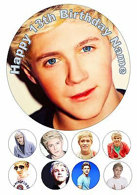 """Edible One Direction 1D Niall  Iced / Icing Cake Topper 7.5"""" + 8 Cupcake Toppers"""