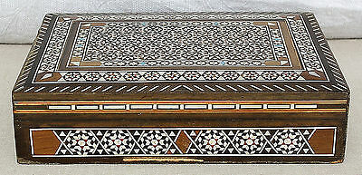 ANTIQUE ISLAMIC MICRO MOSAIC INLAID WOOD JEWELLERY TRINKET BOX EARLY 20th CEN.