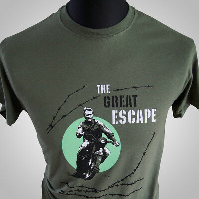 The Great Escape T Shirt Movie Themed Retro Steve McQueen Cool WWII Hipster Tee