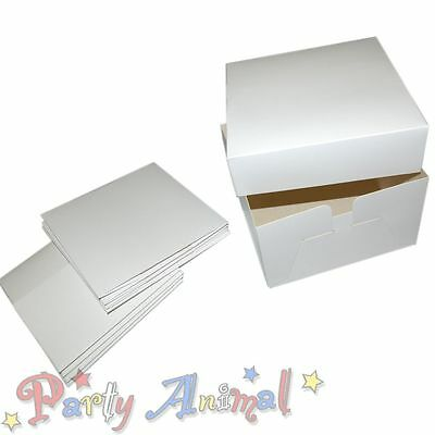 Bulk 5 Pack White Cake Boxes 6 Inch Deep - Box & Lid for Wedding Birthday Cakes