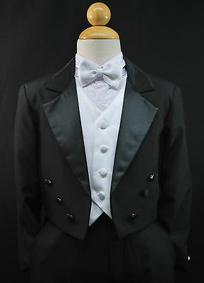 Boy Kids & Children Black Formal Tuxedo Suit Set Wedding Party Outfit sz 5 - 20