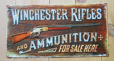 WINCHESTER Rifles & Ammunition For Sale Here Tin Metal Sign Vintage USA Made