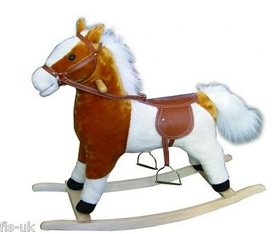Childrens Wooden Rocking Horse Plush Toy Pet Sound Moving Mouth Tail - Fdrk047