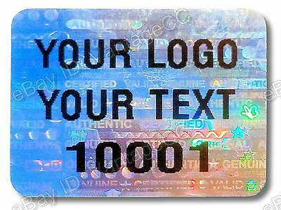 300x Large CUSTOM-PRINTED Security Hologram Stickers,25mm x 20mm,Warranty Labels