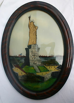 Early Reverse Painted Portrait Statue Of Liberty Large 22 inch Convex Glass