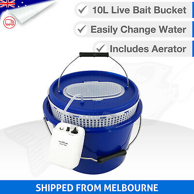 3in1 LIVE BAIT BUCKET & Free Aerator Pump - 12L - 120+ hrs run time - 2 speed
