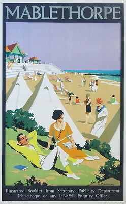Vintage Railway Advertising  rail travel poster  A4 RE PRINT Mablethorpe Beach