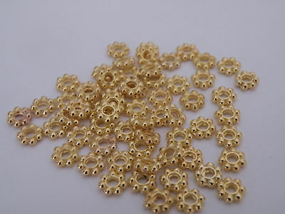 50 5mm Gold Plated Daisy Spacer Beads Lead Nickel Free FLAT SHIP
