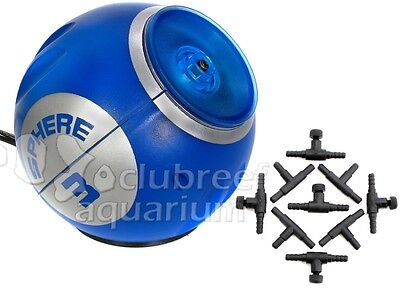 Sphere Three Aquarium Air Pump 60 Gallon Deep Blue LED Light Air Control Kit