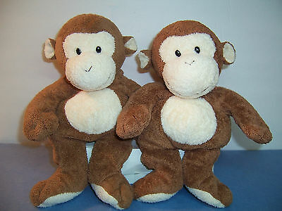 Ty Pluffies - Dangles The Monkey - 2002 - Brown / Plastic Eyes - Lot Of 2 Vgc