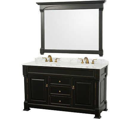 60 Andover Antique Double White Carrera Marble Top Vanity Cabinet WCVTD60BLCW