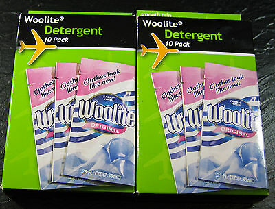 """""""woolite """" 10 Pack Travel Size- Sets Of 2 - For Delicate Washables-  Brand New"""