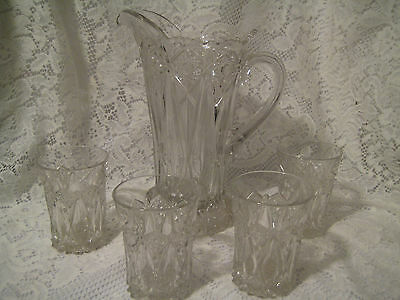 Victorian Indiana Glass Stars Fans Pattern Pitcher 32 oz. + 4 Glasses Excellent