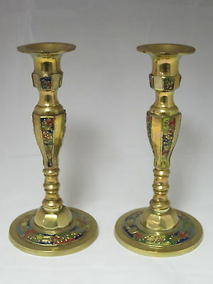 VINTAGE Signed - s7510 - BRASS & ENAMEL - Pair of CANDLE STICK Holders - B4