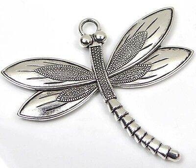 1  Silver Pewter Dragonfly Focal Charm Pendant 58x67mm ~ Lead-Free ~