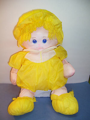 """VINTAGE HAPPINESS AID TOY WELL MADE STUFFED DOLL NYLON PLUSH YELLOW  1985 - 18"""""""
