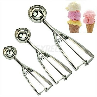Set Of 3 Stainless Steel Ice Cream Craft Scoop Cookie Mash Muffin Spoon 4/5/6cm